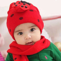 Wholesale Baby s Red Cashmere Wool Hats Soft Scarf Crochet Beret Beanie Winter Caps i11