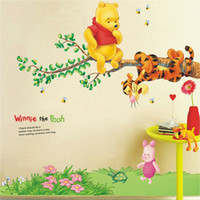 Removable bear nature - Winnie Bear Cartoon Wall stickers Home Decoration Chirlden s Room Bedroom Wall decor Big size cm AY703