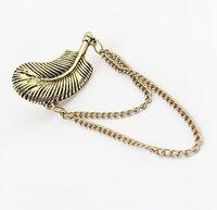 Wholesale Gothic Punk Rock Chain Feather Leaf Tassels Dangle Ear Cuff Warp Clip Earring