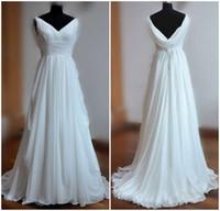 Wholesale Simple style beautiful white wedding dresses chiffon bridal dresses v line ruffle sash back zipper