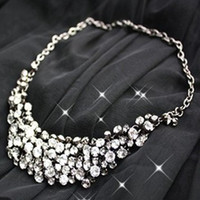 Wholesale Luxury Lady Handmade Grain Mesh Rhinestone Crystal Diamond Collar Statement Bib Necklace Chokers