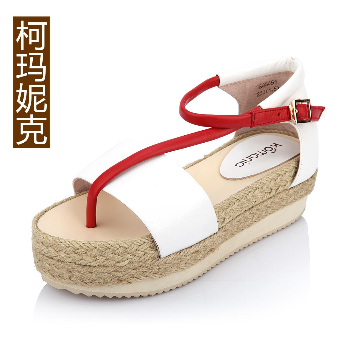 Vintage genuine leather female shoes hemp rope platform shoes color