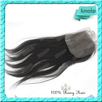Wholesale Stock Queen Lace Closure Silky Straight Indian Virgin Hair Natural Color