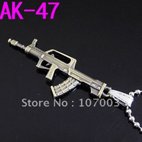 ak stainless - 12pcs Stainless Steel AK Pendant Stainless Steel Bullet Necklace Titanium Steel Gun Pendant Free