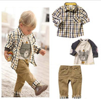 Wholesale 2013 summer new Baby Kids Clothing Children s boys long shirt short T shirt pants set NH