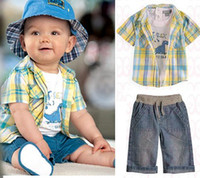 5T-6T Boy Summer 2013 summer new Baby, Kids Clothing Children's boys short shirt +T-shirt +jeans pants 3 set NH-012
