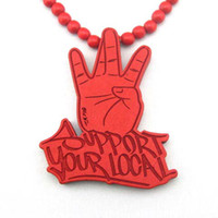Wholesale Retail Necklace WOOD Hip hop Wooden Red Support Your Local Beaded Fashion rosary jewelry LK3012