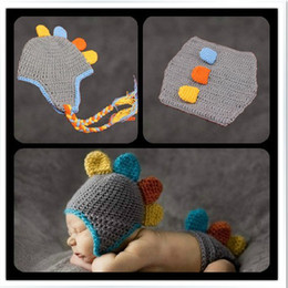 Newborn Baby Infant Handmade Animal Crochet Hat Costume Photo Photography Prop Dinosaur Suit