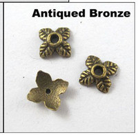 Wholesale MIC Antiqued Bronze Tone Tiny Leaf End Bead Caps mm