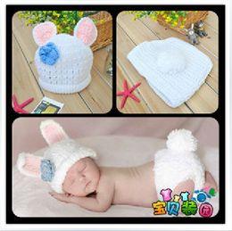 Wholesale Lindo bebé recién nacido infante disquete conejo conejo traje Foto Fotografía Prop M