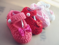 Wholesale 2012 new style bow white pink red red rose Crochet baby shoes infant orangecompany