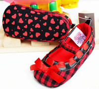 Wholesale Baby Shoes Girls Red Bowknot Plaid Shoes First Walking Shoes Casual Princess Shoes Toddler Footwear