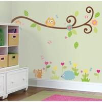 al por mayor búho etiqueta de la pared de desplazamiento-Envío libre: Búho lindo de desplazamiento rama de árbol 3D Tatuajes de pared / extraíble PVC de pared pegatinas mural para niños