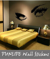 PVC bedroom wall stencils - funlife Modern Vinyl Sexy Giant EYE Large Bedroom wall sticker decal stencil art x150cm