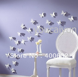 42 pcs   pack DIY 3D Wall Sticker Butterflies Home Decor Room Decorations Decals Free Shipping