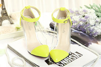 Wholesale Dress Shoes Transparent Shoes High Heel High Quality Black Yellow Pink
