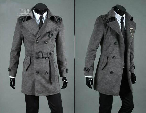 Men's Dust Trench Coat Cashmere Greatcoat ,overcoat , Black,gray ...