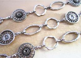 Wholesale--Fancy Antique Silver Flower shape Metal Chain Necklace Chain 3feet LOT