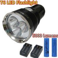 Wholesale 5000 Lumens SKY RAY KING Waterproof X CREE XM L T6 LED Flashlight Torch Black