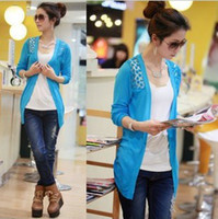 Wholesale 2013 Women Lace Sweet Candy Color Crochet Knit Sweater Cardigan