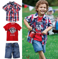 beach boys clothing - 2013 summer new Baby Kids Clothing Children s boys beach shirt T shirt jeans pants set NH