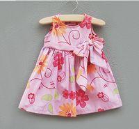 0-2year Summer Sleeveless 2013 summer clothing 0-2year infant clothing baby Dress Big Flower Cotton children jumper skirt