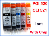 Wholesale 5 set ink cartridges for Canon PGI CLI with chip IP3600 IP4600 IP4700 MP620 MP630 MP540 MP640 MP550 MP560 MP980 MP990