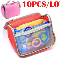 Wholesale 10PCS portable fashion women cosmetic Hanging travel organizer bags in bag makeup Case color