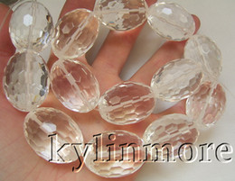 Wholesale 8SE07975a x30mm White Glass Faceted Drum Beads