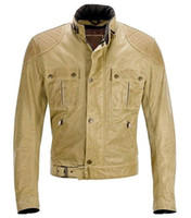 Designer leather Jackets Men New beige motocycle jackets fasten hem with buckle Hot sale fast free shipping