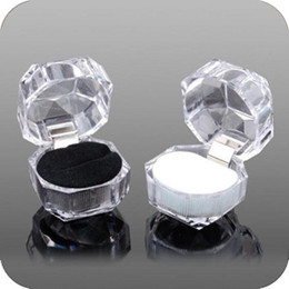 Wholesale Promotion Transparent Crystal Acrylic Box Ring Earrings Dust plug Jewelry Gift Case MM