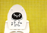 PVC bad boy stickers - Cute Black Bad Boy Toilet Decal Wall Mural Art Decor Funny Bathroom Stickers Gift
