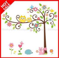 Plant art scrolls - Owl scroll tree Hoot Wall decals Removable stickers decor art kids nursery room