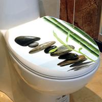 PVC bamboo toilets - Fashion Toilet Sticker Stone And Bamboo Toilet Sticker