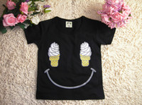 90.100.110.120.130. Boy 100% Cotton 2013 Summer Baby Boys Short-Sleeved T-shirt Ice Cream Face Children Girls T-shirt 2 Color Clothes