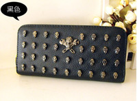 Wholesale Skull Purse Wallet Punk wallet ID Credit Card PU Leather Case Back Cover for Apple iphone G