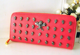 Wholesale Portable Skull Purse Wallet multifunction Korea Ardium Pouch case synthetic leather case for iphone4