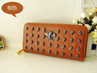 Wholesale Skull Rivets For Leather - Fashion Rivet Style long wallet Credit Card women PU Leather Skull purse for Apple iphone 5 5G