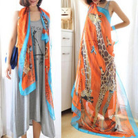 Wholesale Fashion new Woman s Imitate Silk Lovely Giraffe Big Squares Chiffon Scarf shawl X140cm