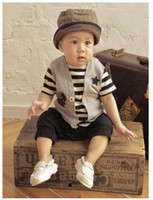 Wholesale 2015 Summer Baby Romper Fashion Flase Gentleman Short Sleeve Cotton Toddler Boys One Piece Clothes Infant Jumpsuits XF29