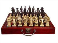 Wholesale cheap Collectibles Pieces Warriors Horses Chess Set with Folding Leather Wood Box
