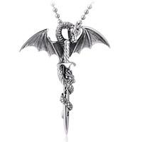 Wholesale men dragon pendant necklace L Stainless Steel rock mens punk necklaces vintage jewelry quot RX016