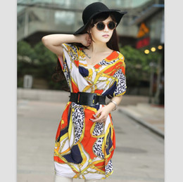 Wholesale 2013 new sexy Korean dress shoulder fold two mode Stretch low V colorful links printing dress