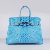 designer leather handbags - Designer women leather handbag Crocodile Head cow leather bag Luxury fashion bag cm width light blue