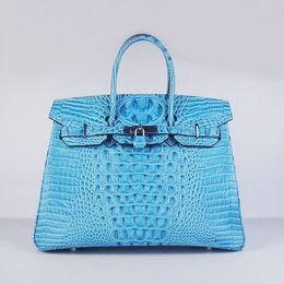 Wholesale Designer women leather handbag Crocodile Head cow leather bag Luxury fashion bag cm width light blue