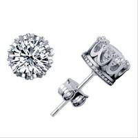 Wholesale 2013 NEW CT Crystal sterling Silver plating White GOLD Crown Wedding Stud Earring Engagement Jewelry