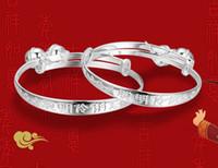 achat en gros de bracelets de plaque bébé-White Gold Cuff Bangles 30% Argent 925 Placage style charme bébé Bangle Bracelets chinois Vintage Filles Garçons Livraison gratuite