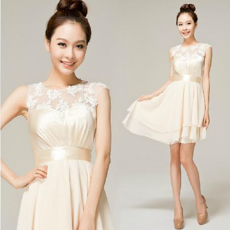 New Champagne Satin Belt Lace Knee Length Bridesmaid Dresses ...
