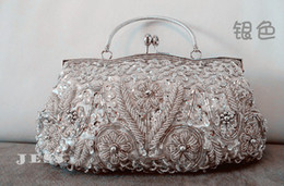 Wholesale fast shipping new style bride hand bags dinner party bags with bead and paillette