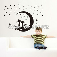Wholesale Removable Wall Stickers Cat and Moon and Stars Kids Room Home Decoration Wall Decals J
